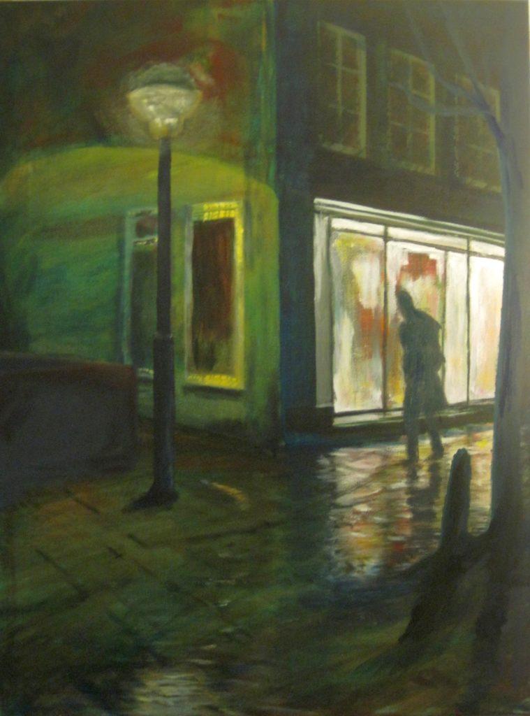 Schilderij Licht in de nacht - de Hoogstraat in Wageningen - Nicole Pluim