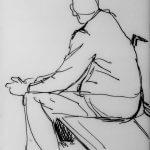 Man op een bankje (schets) Nicole Pluim