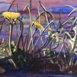 Nicole Pluim Aquarel met paardenbloemen bloemen