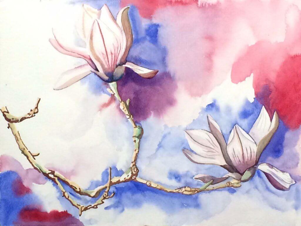 Nicole Pluim Aquarel Magnolia bloemen